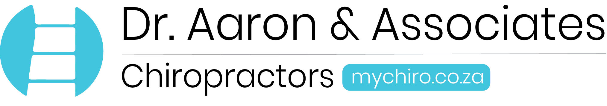 Meet Dr. Aaron and Associates New descriptive and Informative Logo. with dark grey font.